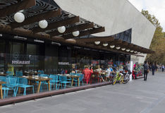 Outdoor dining area of a restaurant in Melbourne Royalty Free Stock Photo