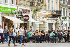 Outdoor dining in Council Square, Brasov Royalty Free Stock Photo