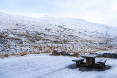 Outdoor dining furniture and winter landscape Stock Images