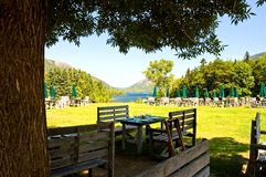 Outdoor dining by lake