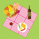 Outdoor dining in meadow on the grass flat. Illustration. Picnic for one family. Basket full of food, fruits, vegetables, bread and meat. Glass of wine and Stock Images