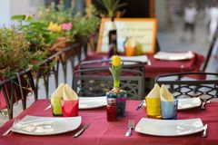 Outdoor dining nook in Tuscany Royalty Free Stock Photo