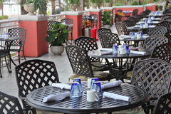 Outdoor dining. Shot of a beautiful outdoor dining Royalty Free Stock Image