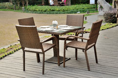 Outdoor dining table. The open air restaurant table Stock Photo