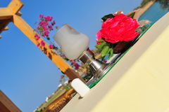 Outdoor dining table setting Royalty Free Stock Images