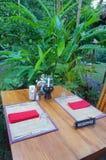Outdoor dining, tropical resort Stock Photos