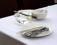 Outdoor dining utensils Royalty Free Stock Photos