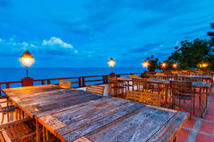 Outdoor dinner table Stock Images