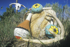 Outdoor display of colorful Hopi instruments in Taos, NM Stock Image