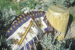 Outdoor display of Hopi flute, drum and rug in Taos, NM Royalty Free Stock Photos