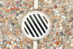 Outdoor drain in decking Stock Photography