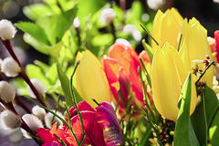 Outdoor easter bouquet of flowers Royalty Free Stock Photography