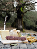 Outdoor eating with bread, cheese and sausage. Stock Image