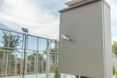 Outdoor electric control box. At the park Royalty Free Stock Photography