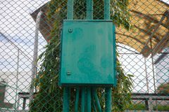 Outdoor electric control box. In sport court Royalty Free Stock Photo