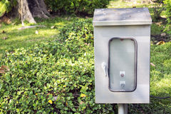 Outdoor Electrical Box at the public park or garden.  Stock Images