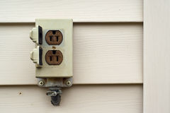 Outdoor Electrical Outlet. Close-up of a common outdoor electric socket on a wall stock photos