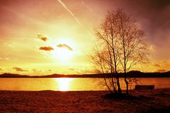 Outdoor empty bench on autumn lake beach. The coast with sunset. Vintage toned photo with lens flare effect Stock Image