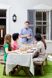Outdoor entertaining with champagne and food stock image