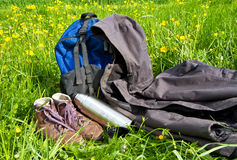 Outdoor equipment. In a flower field stock photography