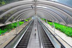 Outdoor escalator. Incredibly long outdoor escalator protected by a clear tunnel, offering beautiful view of the surrounding spring foliage. location : ocean royalty free stock photo