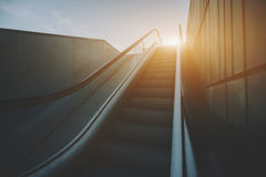 Outdoor escalator goes up Stock Images