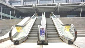 Outdoor escalators of modern building Royalty Free Stock Photos