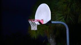 Outdoor Evening Shot of Basketball Net stock video footage