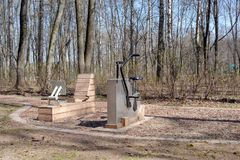 Outdoor exercise equipment. Various outdoor exercise machines in a public park royalty free stock photos