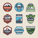 Outdoor expedition vintage isolated label set. Summer camp symbol, mountain and forest explorer, touristic camping badge, nature wildlife logo. People extreme Royalty Free Stock Images