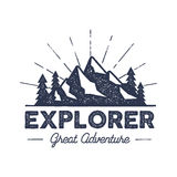 Outdoor explorer badge. Retro illustration of label. Typography and roughen style. logo with letterpress effect. Inspirational text. stock vector. Isolate on Royalty Free Stock Image
