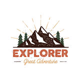 Outdoor explorer badge. Retro illustration of outdoor explorer label. Typography and roughen style. Outdoor explorer. Logo with letterpress effect Royalty Free Stock Image