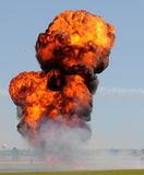 Outdoor explosion. Giant outdoor explosion with fire and black smoke Royalty Free Stock Photography
