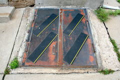 Outdoor Exterior Rusted Doors To Stairs To Basement Floor Stock Photos