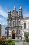 Outdoor facade of an old colonial church. Ibarra, Ecuador Stock Photography
