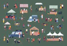 Outdoor fair, market or street food festival. Men and women walking between stalls, kiosks and vans, buying products. Talking to each other. Colorful vector vector illustration