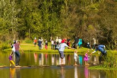 Outdoor family activities in the park and lakes royalty free stock photo