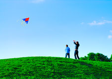 Outdoor family weekend. Fly a kite. Family weekend Royalty Free Stock Photography