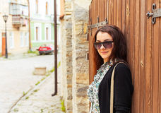 Outdoor fashion closeup portrait of young pretty woman in summer Royalty Free Stock Photography