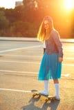 Outdoor fashion closeup summer portrait of pretty young woman po Stock Photo
