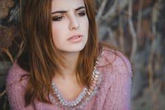 Outdoor fashion emotional portrait of glamour Stock Image