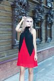 A fashion gothic style portrait of a beautiful blonde girl Stock Photos