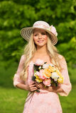 Outdoor Fashion Model Portrait, Young Woman Summer Hat Flowers Stock Images