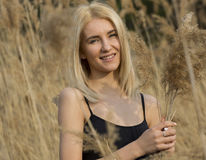 Outdoor fashion photo of young beautiful lady in autumn landscape with dry flowers Stock Photos