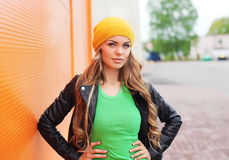 Outdoor fashion portrait of beautiful blonde woman Royalty Free Stock Photography