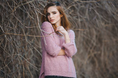 Outdoor fashion portrait of glamour sensual young Royalty Free Stock Photography