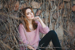 Outdoor fashion portrait of glamour sensual young Royalty Free Stock Photo
