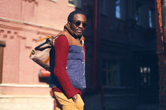 Outdoor fashion portrait of handsome stylish african man Royalty Free Stock Photography