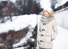 Outdoor fashion portrait of pretty young girl Stock Photo