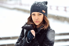 Outdoor fashion portrait of pretty young girl in winter.  Stock Photography